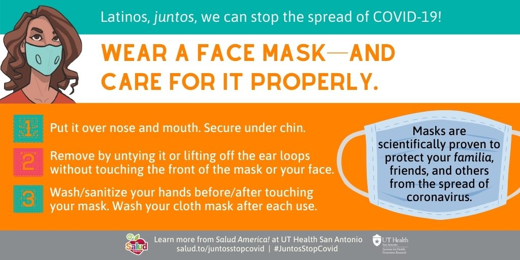 Wear a face mask 1: Juntos We Can Stop Covid-19 campaign coronavirus
